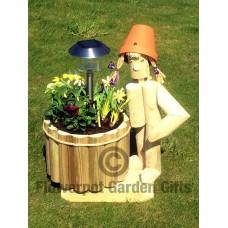 Solar Stander + Round Wooden Planter