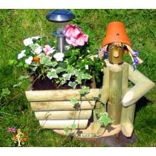 Solar Sitter + Wooden Planter
